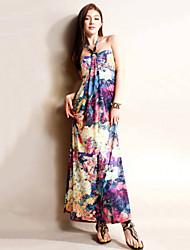 Women's Halter Bohemian Sleeveless Maxi Dress