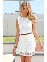 Women's Solid/Lace White Dress, Sheath Mini Round Neck Sleeveless