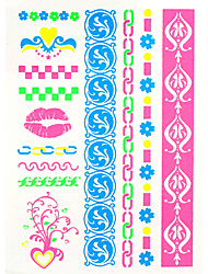 2016 New 4PCS Fluorescent Temporary Tattoo Sticker  Painting