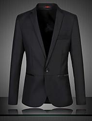 manga longa dos homens regulares blazer, algodão / poliéster tamanho puro m 6XL