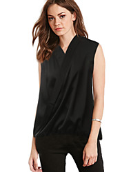 Women's Sexy Plus Size Casual / Work / Beach / Holiday V Neck Sleeveless T-Shirt