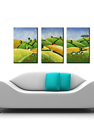 Oil Painting Decoration Abstract Landscape Hand Painted Canvas with Stretched Framed - Set of 3