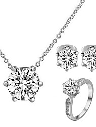 T&C Women's Concise 18K White Gold Plated with 6 Prongs Simulated Diamond Stone Pendant Necklace Earrings Ring Set