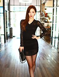 Women's Bodycon Micro-elastic Long Sleeve Above Knee Dress