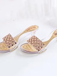 Calçados Femininos Latex Salto Cone Bico Aberto Sandálias Social/Festas & Noite Verde/Vermelho/Dourado