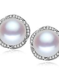 z & x® 925 argenté élégante fleur fraîche boucles d'oreilles perles d'eau mariage / fête / jour