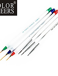 6PCS Nail Art Painting Drawing Pen Brush Handle 3 large + 3 small