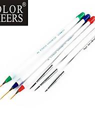 6PCS Nail Art Peinture Dessin Pen brosse à manche 3 + 3 petit grand