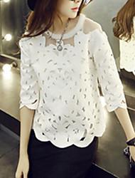 Women's Sexy Casual Lace Cute Inelastic ¾ Sleeve Regular Shirt (Lace/Organza)