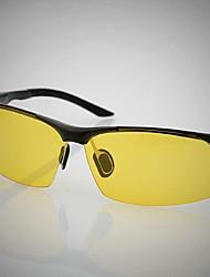 Gafas de Sol hombres's Ligeras Envuelva Negro / Plata Conducción / Gafas de visión nocturna Media Montura