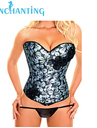 Senchanting Women's Satin Lace up Boned Corset Bridal Wedding Overbust Bustier Top
