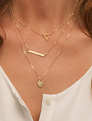 Women's Fashion Metal Hollow Triangle Multilayer Necklace