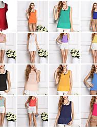 Women's Round Vests , Chiffon Casual/Cute Sleeveless ORG