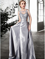 Formal Evening Dress A-line Jewel Floor-length Lace / Satin / Tulle with Lace