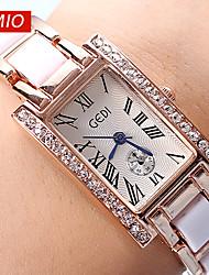 reloj de moda vestido de oro gedi®rose señora banda de cerámica marca gadi mujeres de lujo mira el reloj roma rhinestone de cuarzo