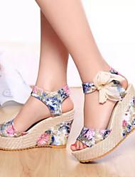 Zapatos de mujer Materiales Personalizados Tacón Cuña Punta Abierta/Plataforma Sandalias Vestido/Casual Azul/Rosa