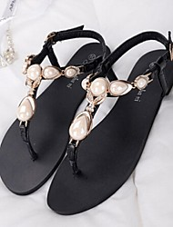 Women's Shoes Flat Heel T-Strap Sandals Casual Black/Gold