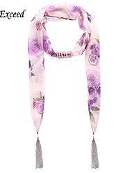 D Exceed  Ladies New Design Fashionable Rose Flower Print Light Purple Chiffon Scarves with Tassel Jewelry Scarf