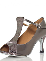 Non Customizable Women's Dance Shoes Salsa Flocking Stiletto Heel Gray