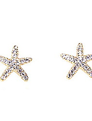 New Sweet Lovely Ocean Starfish Shiny Diamond Earrings