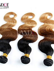 3 Pcs Lot 14-28 Ombre Indian Virgin Hair Extensions Body Wave Three Tone Black Brown Blonde 1B/4/27# Human Hair Weave