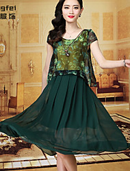 Women's Print Green Dress , Print Round Neck Short Sleeve