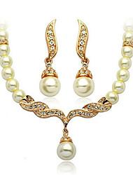 DANBI Women's Fashion Inlaid Pearls Necklace Earrings Bridal Set