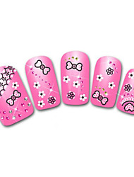 Lovely Lace Bowknot Cartoon Finger Nail Stickers