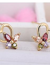 Women's Fashion Heart Color Butterfly Design Stud Earrings