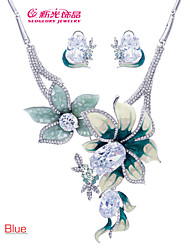 Neoglory Luxury Flower Necklace Earrings Set with Rhinestone Crystal(More Color)