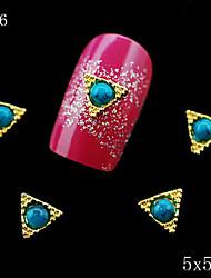 036 5*5mm Fashion Golden Alloy Metal Rhinestones Triangle Shape Blue Pearl DIY 3d alloy nail accessoris 10pcs/lot