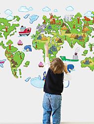 stickers muraux autocollants de mur, le dessin animé carte du monde pvc stickers muraux