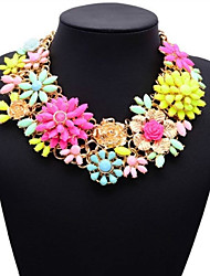 JQ Jewelry Big Name Chunky Pink Flower Choker Necklace