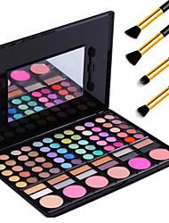 78 couleurs de maquillage pro cosmétique pigment kit ombre à paupières blush palette + 4pcs crayon pinceau de maquillage