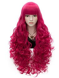 80cm langen, flachen Knall volle rosige rote gelockte Hitze wider synthetisches cosplay Haar Party Perücke