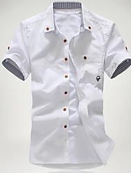 Camisas Casuales ( Algodón )- Casual Peter Pan cuello Manga Corta