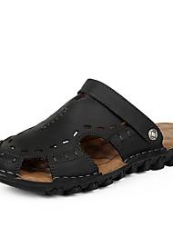 Zapatos de Hombre - Sandalias - Exterior - Cuero - Negro / Marrón / Caqui