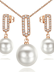 HKTC Elegant Bridal Jewelry 18k Rose Gold Plated Crystal Simulated Pearl Waterdrop Earrings and Necklace Set