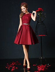 Cocktail Party Dress - Burgundy / Jade Petite Ball Gown Jewel Short/Mini Lace / Charmeuse