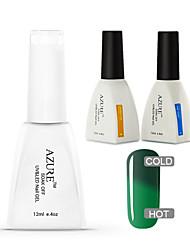 Azure 3 Pcs/Lot Chameleon Temperature UV Gel Soak-off Nail Care Polish for Nail Beauty(#42+BASE+TOP)