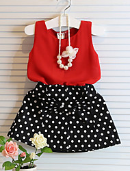 Polka Dot Chiffon Skirt + Vest Suits (2pcs)