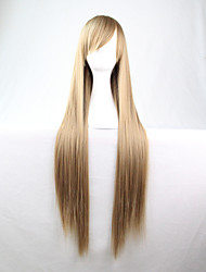 Cos Anime Bright Colored Wigs Long  Flax  Grey Straight  Hair Wig 80 cm