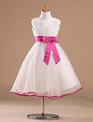 Princess Tea-length Flower Girl Dress - Satin / Tulle Sleeveless Bateau with