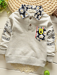 Boy's Cotton Fashion Spring/Fall Going out/Casual/Daily Floral Print Patchwork False Two-piece Long Sleeve T-shirt Kid Blouse