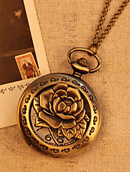 Chain Rose Flower Case Bronze Color Fashion Vintage Antique Pocket Watch Quartz Analog Display Pendant Watch Clock Cool Watches Unique Watches