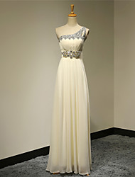 Formal Evening Dress A-line One Shoulder Floor-length Chiffon with Beading