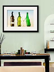 e-home® enquadrado arte da lona, garrafas de vidro coloridas deformadas Impressão em tela emoldurada