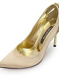 DamenHochzeit / Kleid / Party & Festivität-Seide / Glanz-Stöckelabsatz-Absätze / Spitzschuh-Schwarz / Gold
