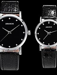 Couple With Rhinestone Round Black Plate Waterproof PU Leather Quartz Movement Watch