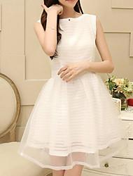 Women's White Dress , Work Sleeveless